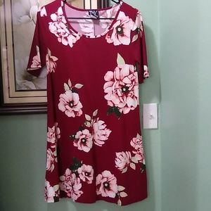 Burgandy floral dress